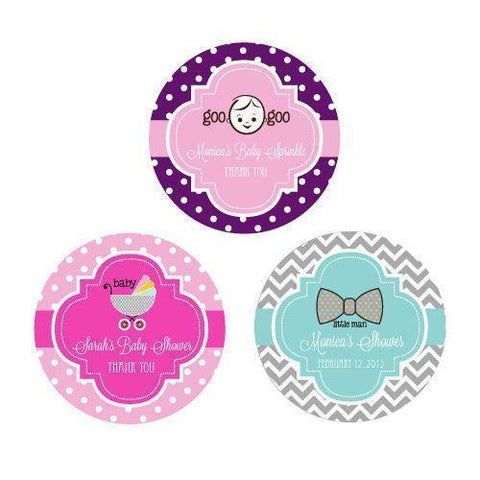Baby Shower Personalized Round Favor Labels