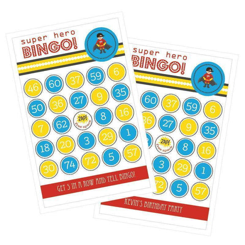 Baby Super Hero Boy Birthday Bingo (set of 16)-Jubilee Favors