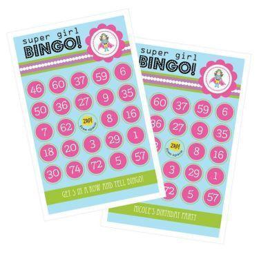 Baby Super Hero Girl Birthday Bingo (set of 16)-Jubilee Favors