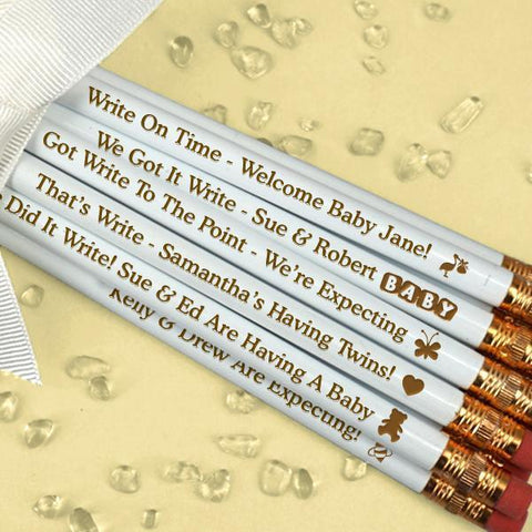 Baby White Personalized Pencils (Set of 12)-Jubilee Favors