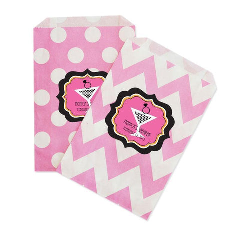 Bachelorette Party Chevron & Dots Goodie Bags (set of 12)-Jubilee Favors