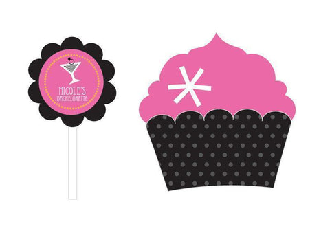 Bachelorette Party Cupcake Wrappers & Cupcake Toppers (Set of 24)-Jubilee Favors