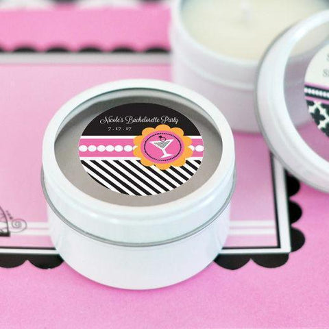 Bachelorette Party Personalized Round Candle Tins-Jubilee Favors