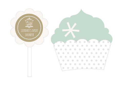 Birdcage Party Cupcake Wrappers & Cupcake Toppers (Set of 24)-Jubilee Favors