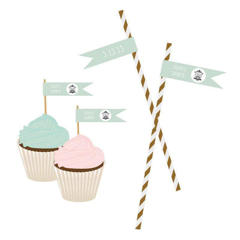Birdcage Party Personalized Flag Labels-Jubilee Favors