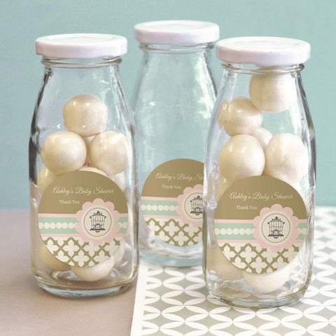 Birdcage Party Personalized Milk Bottles-Jubilee Favors
