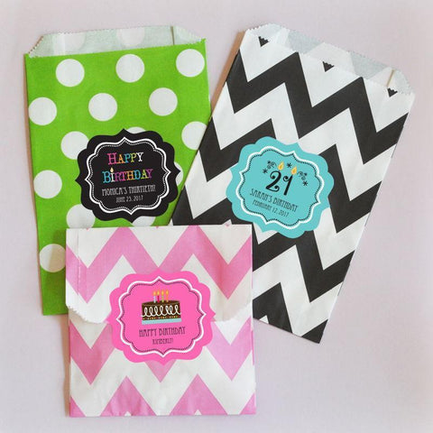 Birthday Personalized Chevron & Dots Goodie Bags (set of 12)-Jubilee Favors