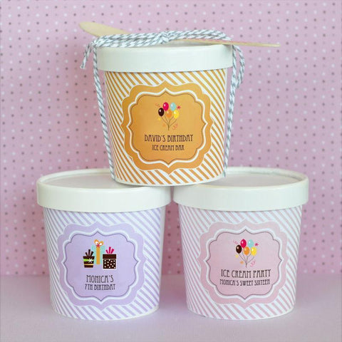 Birthday Personalized Mini Ice Cream Containers-Jubilee Favors