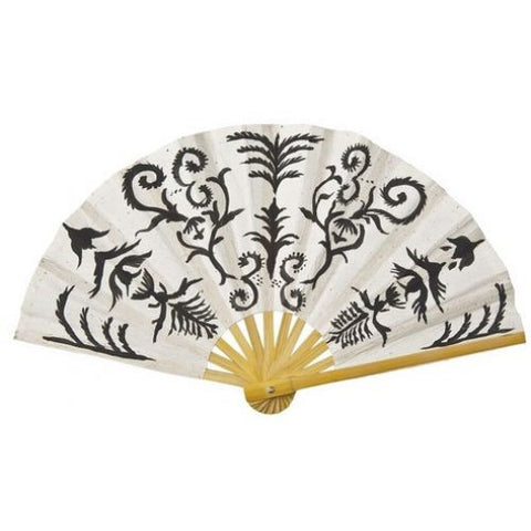 Black and White Henna Motif Mulberry Paper Hand Fan-Jubilee Favors