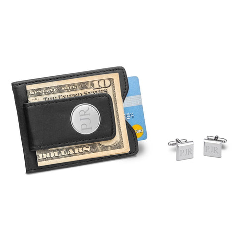 Black Leather Wallet and Cufflinks Gift Set-Jubilee Favors