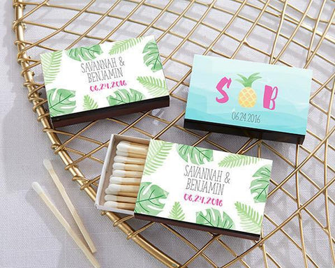 Black Matchboxes - Pineapples and Palms (Set of 50)-Jubilee Favors