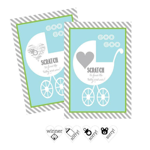 Blue Baby Carriage Scratch Off Game Cards (Set of 12)-Jubilee Favors