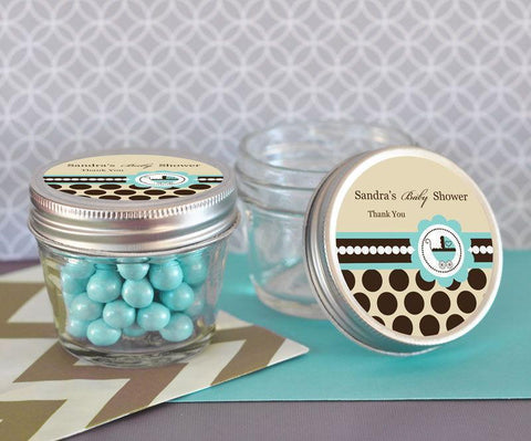 Blue Baby Shower Small 4 oz Mason Jars-Jubilee Favors