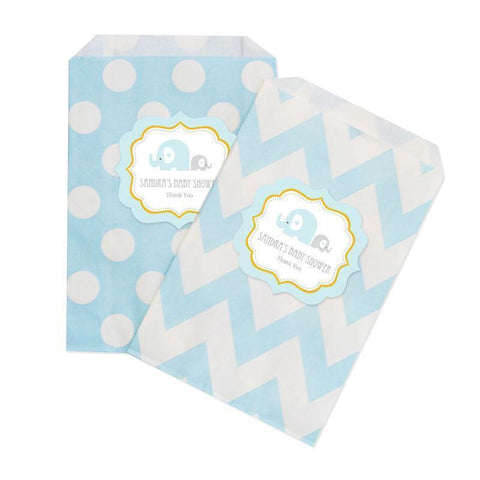 Blue Elephant Chevron & Dots Goodie Bags (set of 12)-Jubilee Favors