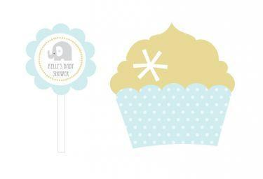 Blue Elephant Cupcake Wrappers & Cupcake Toppers (Set of 24)-Jubilee Favors