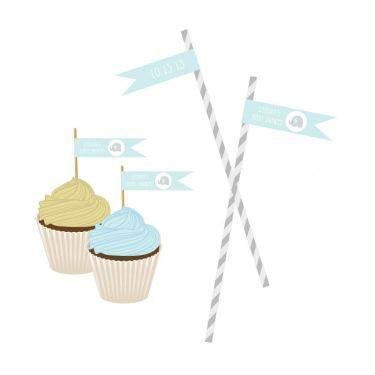 Blue Elephant Personalized Flag Labels-Jubilee Favors
