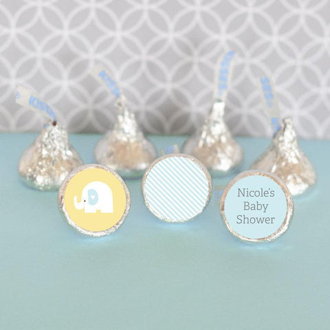 Blue Elephant Personalized Hershey's® Kisses Labels Trio (Set of 108)-Jubilee Favors