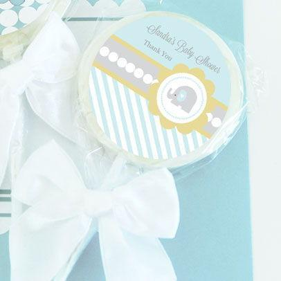 Blue Elephant Personalized Lollipop Favors-Jubilee Favors