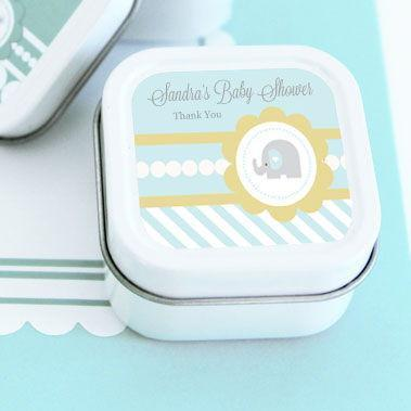 Blue Elephant Personalized Square Candle Tins-Jubilee Favors