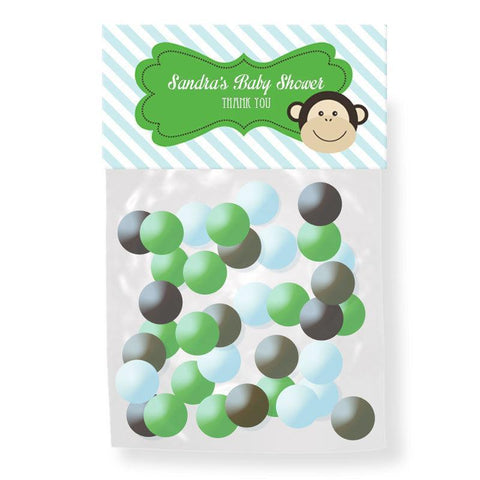 Blue Monkey Party Personalized Candy Bag Toppers-Jubilee Favors