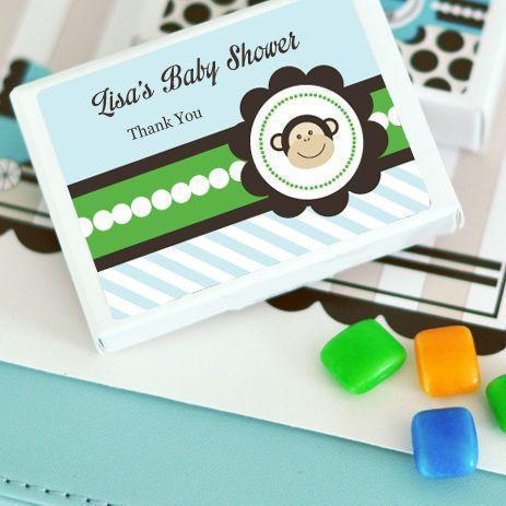 Blue Monkey Party Personalized Gum Boxes-Jubilee Favors