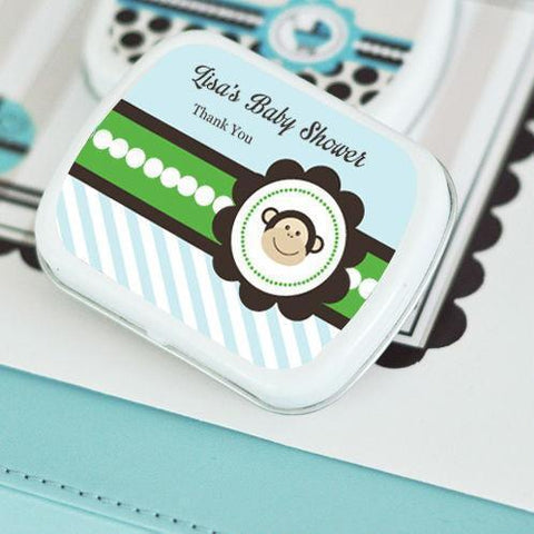 Blue Monkey Party Personalized Mint Tins-Jubilee Favors