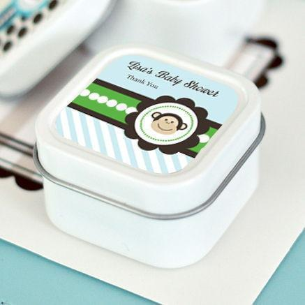 Blue Monkey Party Personalized Square Candle Tins-Jubilee Favors