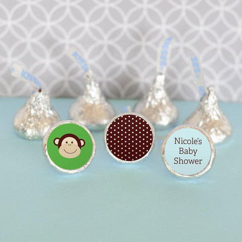 Blue Monkey Personalized Hershey's® Kisses Labels Trio (Set of 108)-Jubilee Favors