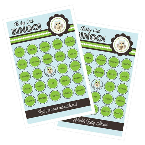 Blue Owl Bingo (set of 16)-Jubilee Favors