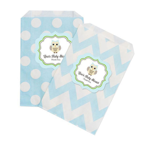 Blue Owl Chevron & Dots Goodie Bags (set of 12)-Jubilee Favors