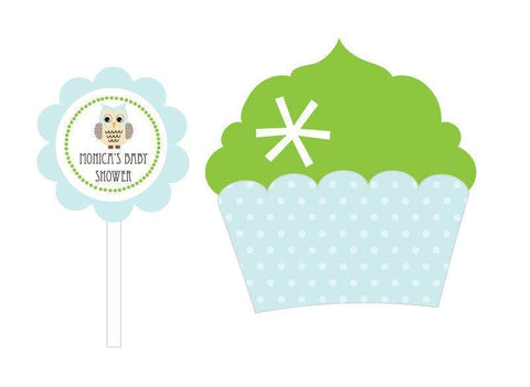 Blue Owl Cupcake Wrappers & Cupcake Toppers (Set of 24)-Jubilee Favors