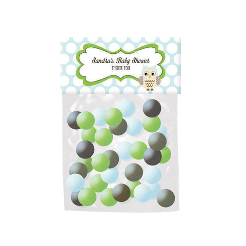 Blue Owl Personalized Candy Bag Toppers-Jubilee Favors