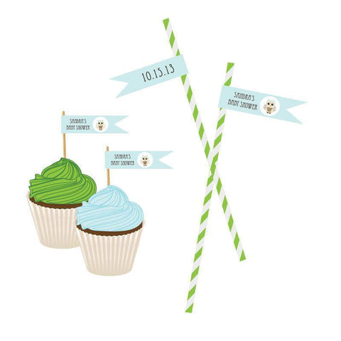 Blue Owl Personalized Flag Labels-Jubilee Favors
