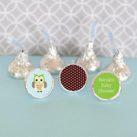 Blue Owl Personalized Hershey's® Kisses Labels Trio (Set of 108)-Jubilee Favors