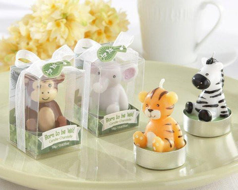 """Born to be Wild"" Animal Candles (Set of 4, Assorted)-Jubilee Favors"