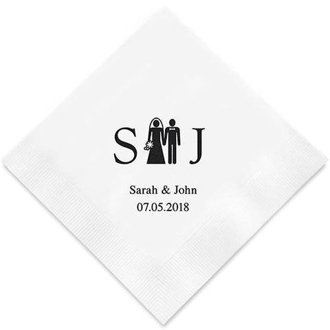 Bride And Groom Monogram Printed Paper Napkins-Jubilee Favors