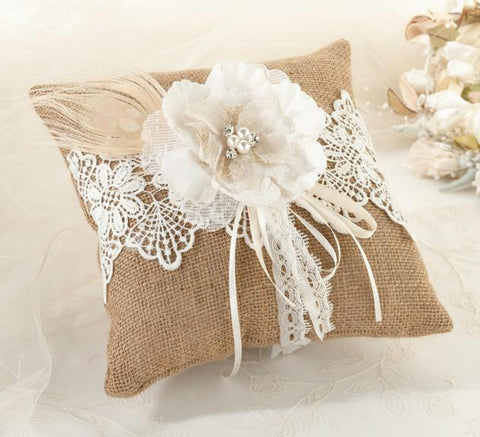 Burlap & Lace Ring Bearer Pillow-Jubilee Favors
