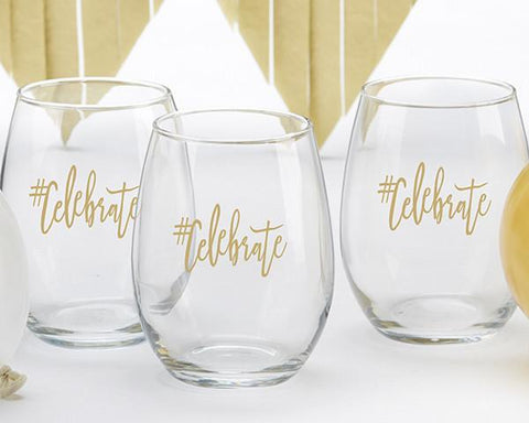 #Celebrate 15 oz. Stemless Wine Glass (Set of 4)-Jubilee Favors