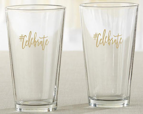 #Celebrate 16 oz. Pint Glass (Set of 4)-Jubilee Favors