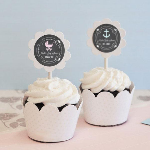 Chalkboard Baby Shower Cupcake Wrappers & Cupcake Toppers (Set of 24)-Jubilee Favors