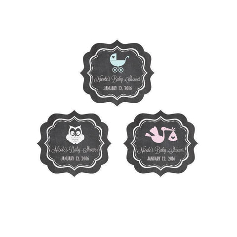 Chalkboard Baby Shower Personalized Frame Labels-Jubilee Favors
