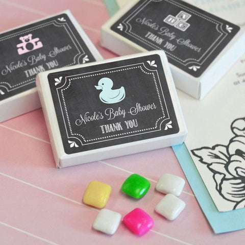 Chalkboard Baby Shower Personalized Gum Boxes-Jubilee Favors