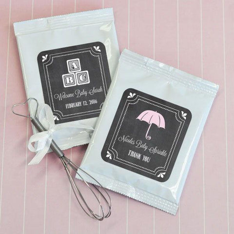 Chalkboard Baby Shower Personalized Hot Cocoa + Optional Heart Whisk-Jubilee Favors