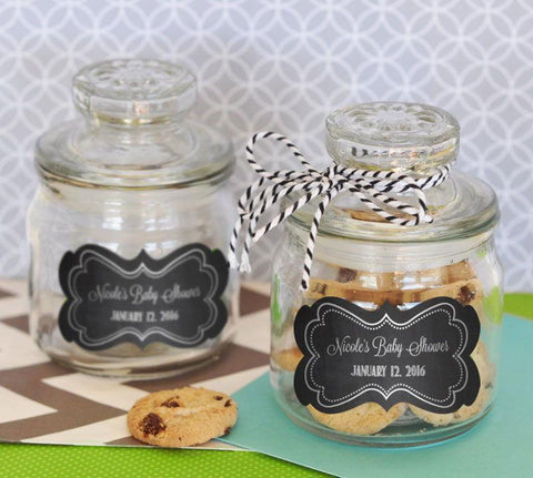 Chalkboard Baby Shower Personalized Mini Cookie Jars-Jubilee Favors