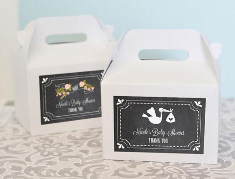 Chalkboard Baby Shower Personalized Mini Gable Boxes (set of 12)-Jubilee Favors