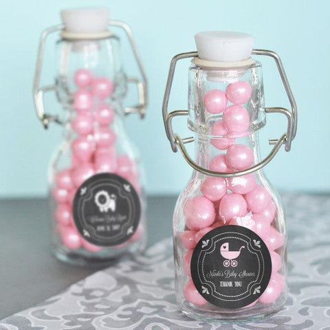Chalkboard Baby Shower Personalized Mini Glass Bottles-Jubilee Favors