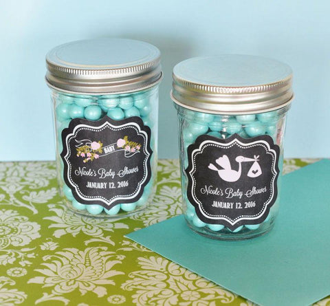 Chalkboard Baby Shower Personalized Mini Mason Jars-Jubilee Favors