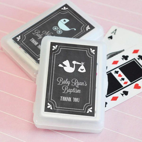 Chalkboard Baby Shower Personalized Playing Cards-Jubilee Favors