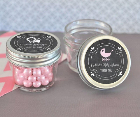 Chalkboard Baby Shower Personalized Small 4 oz Mason Jars-Jubilee Favors