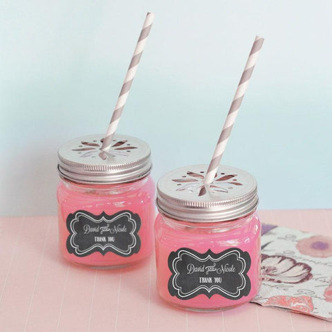 Chalkboard Wedding Personalized Mason Jar Drinking Glasses with Flower Cut Lids-Jubilee Favors